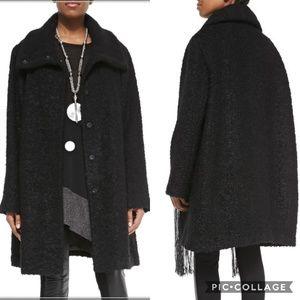 Elieen Fisher Black Curly Alpaca Coat